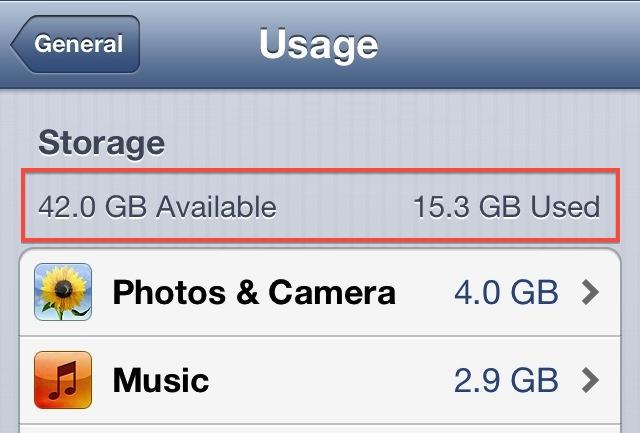 iOS storage
