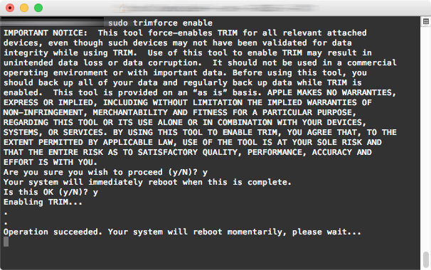 trimforceterminal - Replacing A Macbook Pro Hard Drive With An SSD Drive