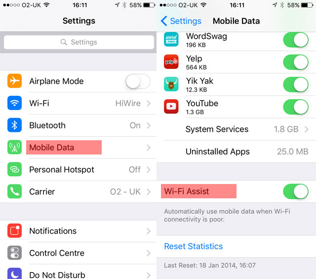 WiFi Assist 1 - Has iOS 9 Destroyed Your Data Plan?
