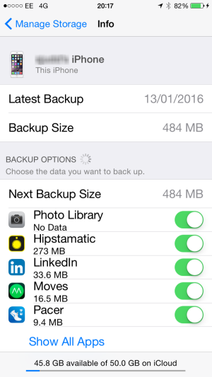 select options for iCloud backup