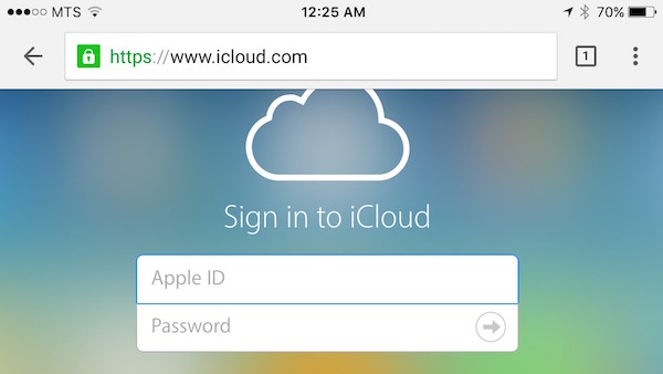Login to iCloud using Chrome on iPhone