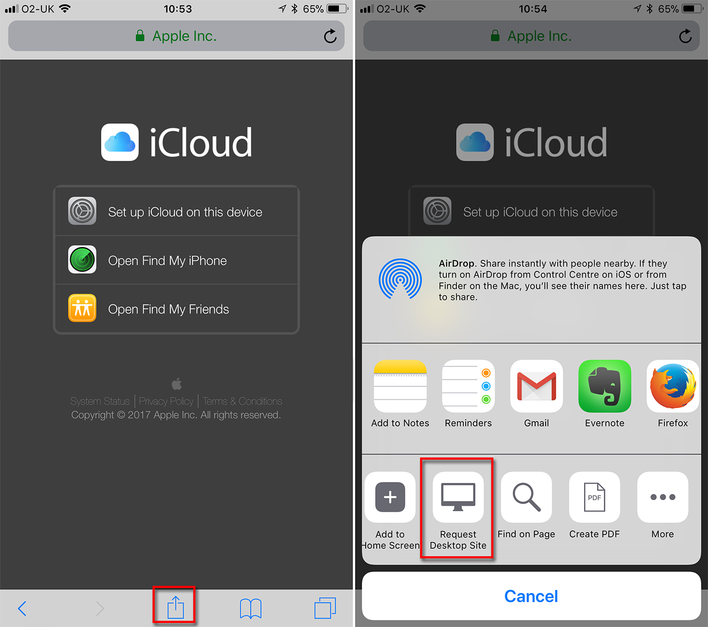 iCloud Login on iPhone using Safari in iOS - latest homepage