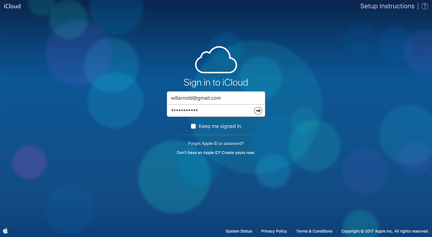 icloud.com login screen - latest homepage