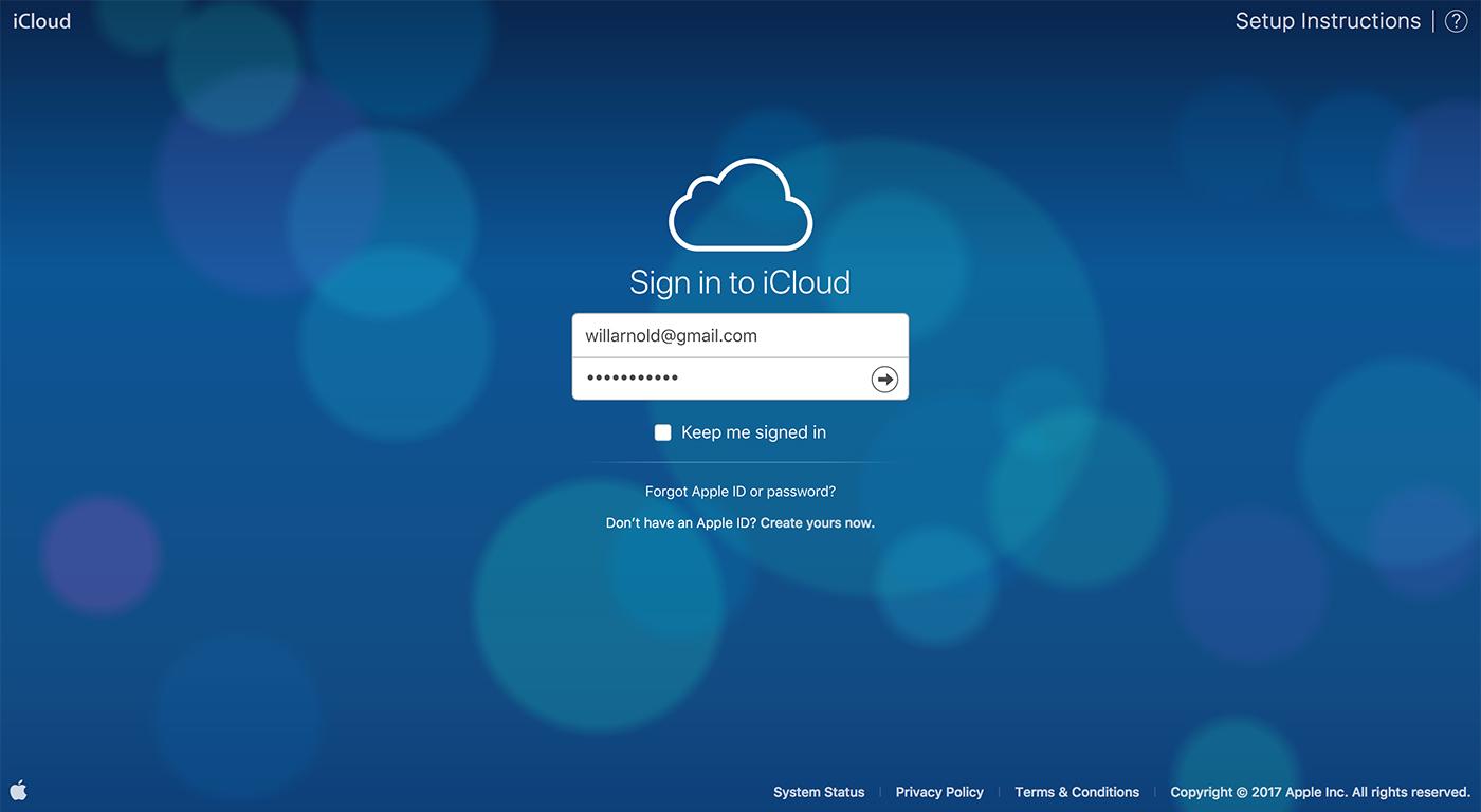 login screen at icloud.com